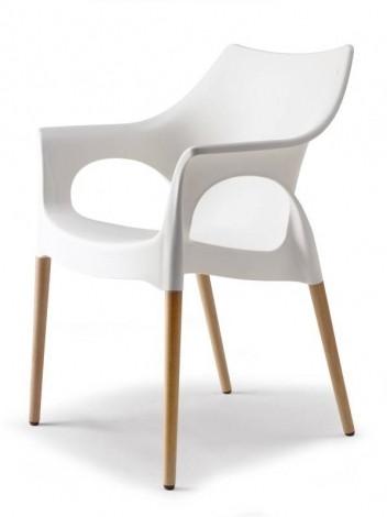 Ola wit kunststof stoel met beuken poten
